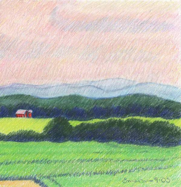 Landscape Art Print featuring the drawing Pocahontas County by Harriet Emerson