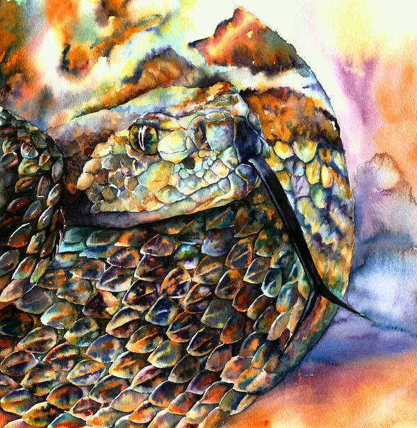 Southwest Art Print featuring the painting Rattle Snake by Christy Freeman