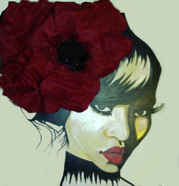 Red Flower Women Art Print featuring the painting Red Flower by Charis Kelley