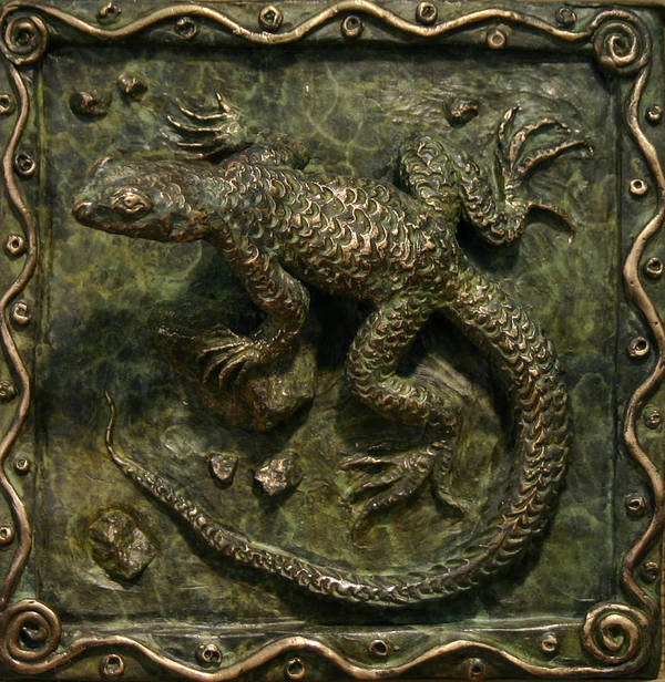Miniature Print featuring the sculpture Sagebrush Lizard by Dawn Senior-Trask