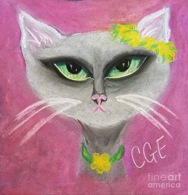 Spring Art Print featuring the pastel Spring Cat by Crystal Elswick