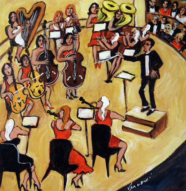 Carnegie Hall Orchestra Art Print featuring the painting Symphony by Valerie Vescovi