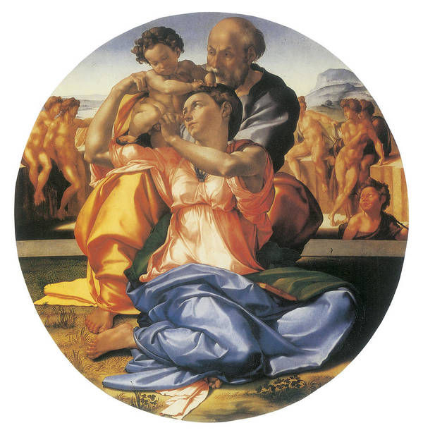 Michelangelo Bounarroti Print featuring the painting The Doni Tondo by Michelangelo Bounarroti