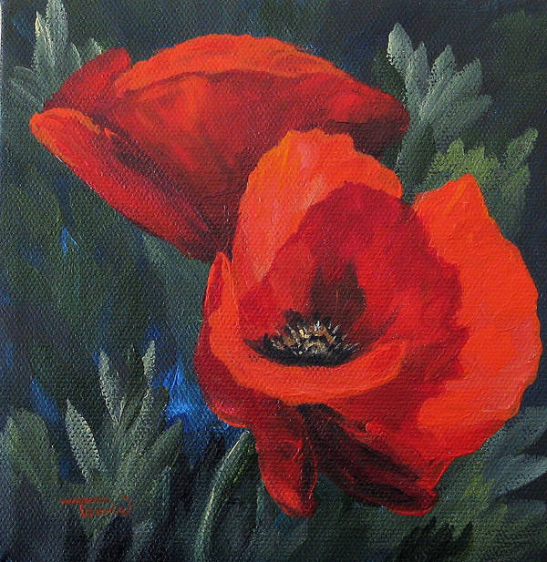 Poppies Art Print featuring the painting Two Poppies by Torrie Smiley