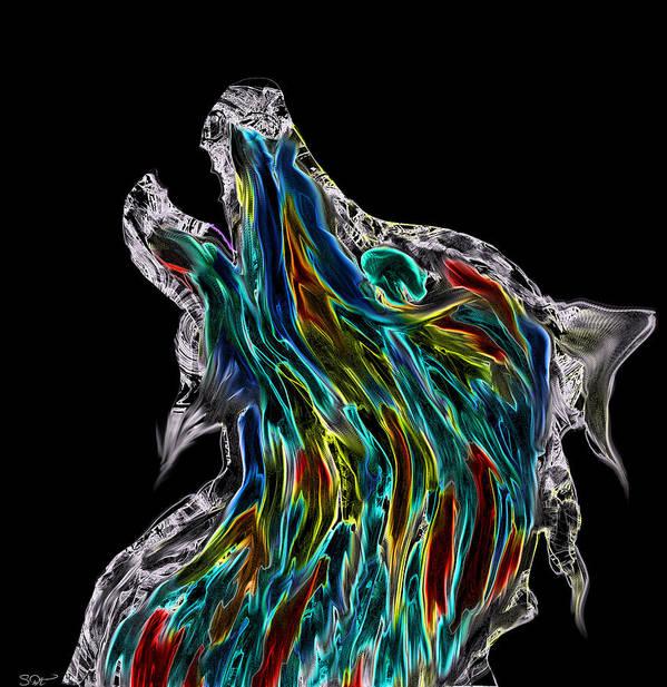 Viking Howling Wolf Art Print