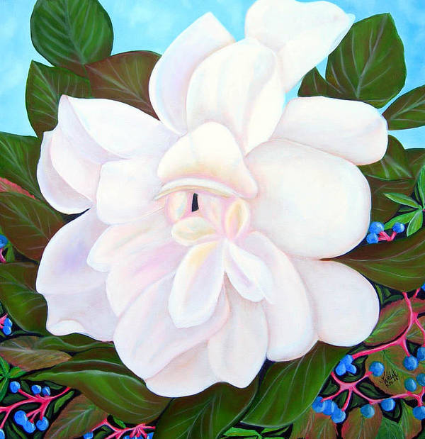 Floral Art Print featuring the painting White Gardenia With Virginia Creepers by Kathern Welsh