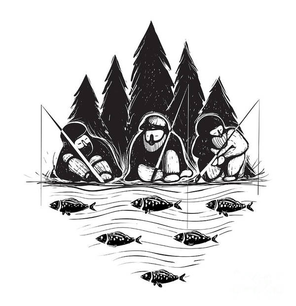 Forest Art Print featuring the digital art Three Fisherman Sitting On River Bank by Popmarleo
