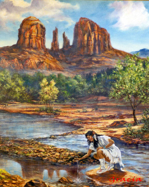 Az Red Rock Crossing Art Print featuring the photograph Red Rock Crossing by Gracia Molloy