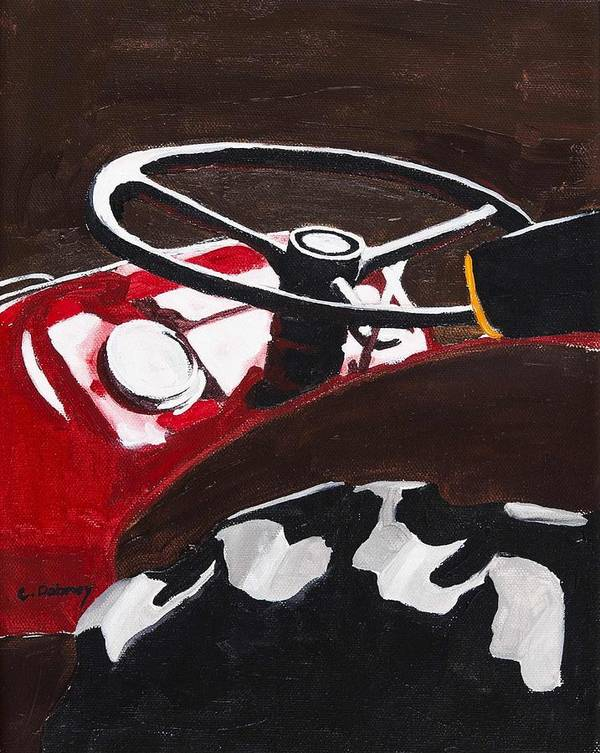 Tractor Art Print featuring the painting Afternoon Break by Carla Dabney