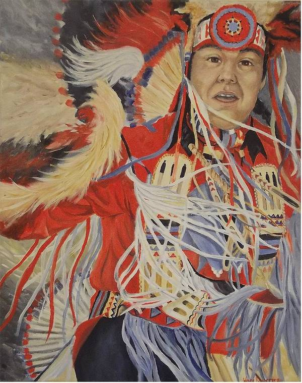 Indian Art Print featuring the painting At The Powwow by Wanda Dansereau
