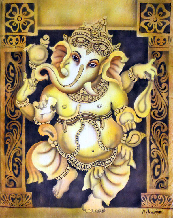 Ganesh Art Print featuring the painting Dancing Ganesh by Vishwajyoti Mohrhoff