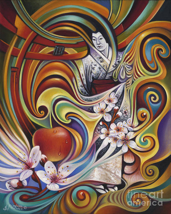Cherry-blossoms Art Print featuring the painting Dynamic Blossoms by Ricardo Chavez-Mendez