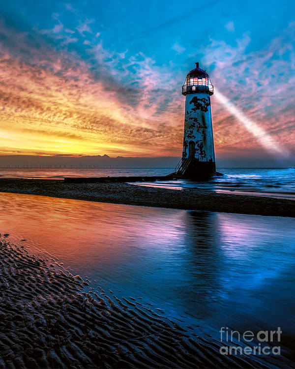 British Art Print featuring the photograph Light House Sunset by Adrian Evans