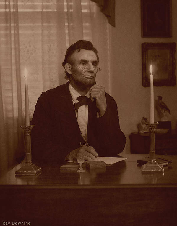 Abraham Lincoln Art Print featuring the digital art Lincoln At His Desk by Ray Downing