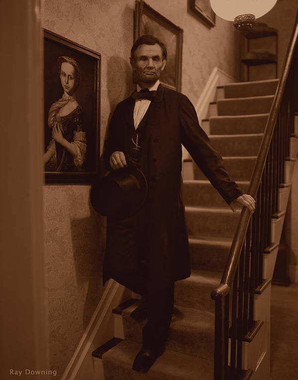 Abraham Lincoln Art Print featuring the digital art Lincoln Descending Staircase by Ray Downing