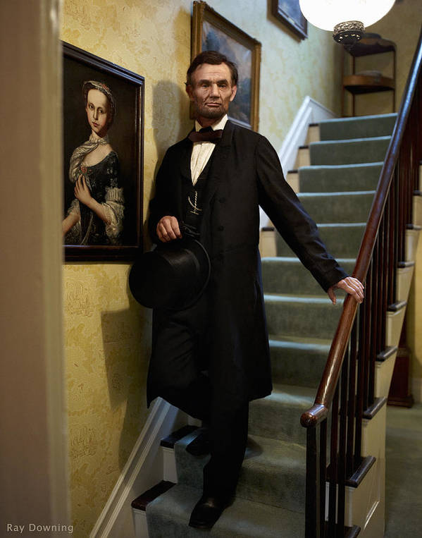 Abraham Lincoln Art Print featuring the digital art Lincoln Descending Stairs 2 by Ray Downing