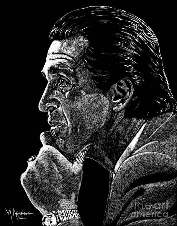 Pat Riley Print featuring the drawing Lord Of The Rings by Maria Arango