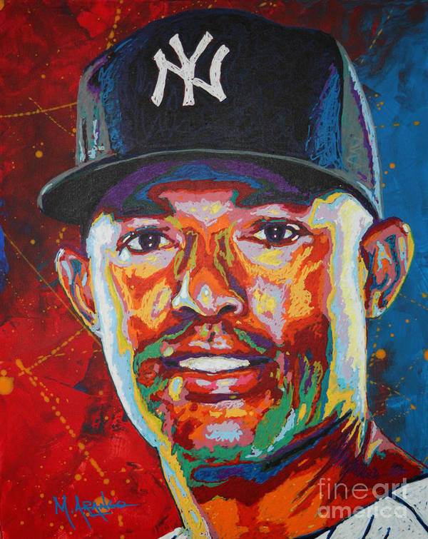Mariano Rivera Print featuring the painting Mariano Rivera by Maria Arango