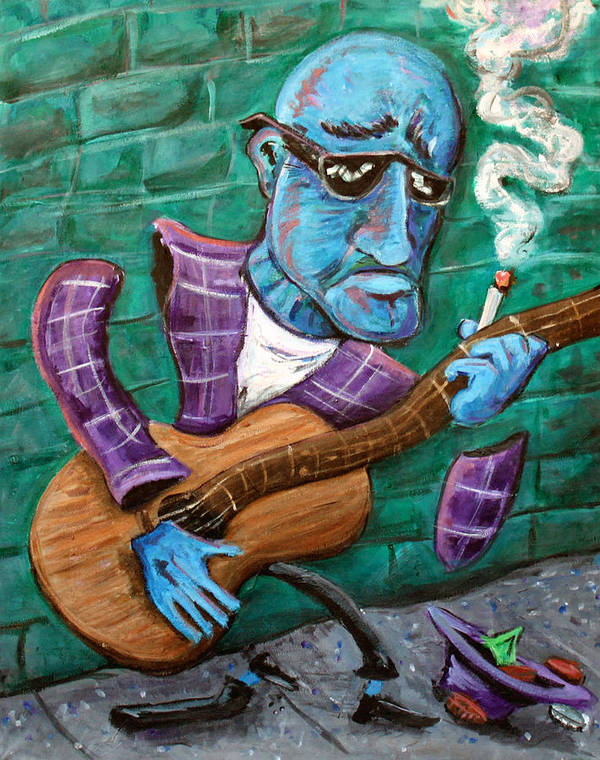 Jazz Music Art The Blues Musician Art Print featuring the painting Po Man by Jason Gluskin