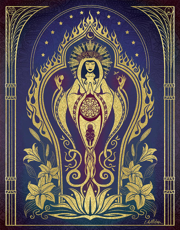 Mother Print featuring the digital art Sacred Mother - Global Goddess Series by Cristina McAllister