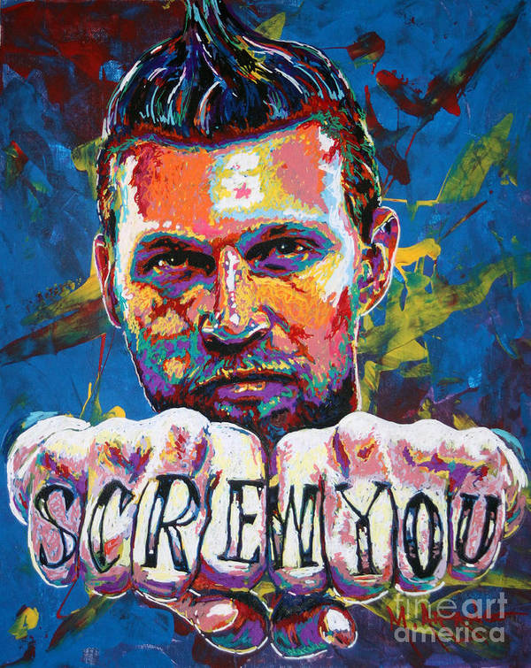 Chris Andersen Art Print featuring the painting Screw You by Maria Arango