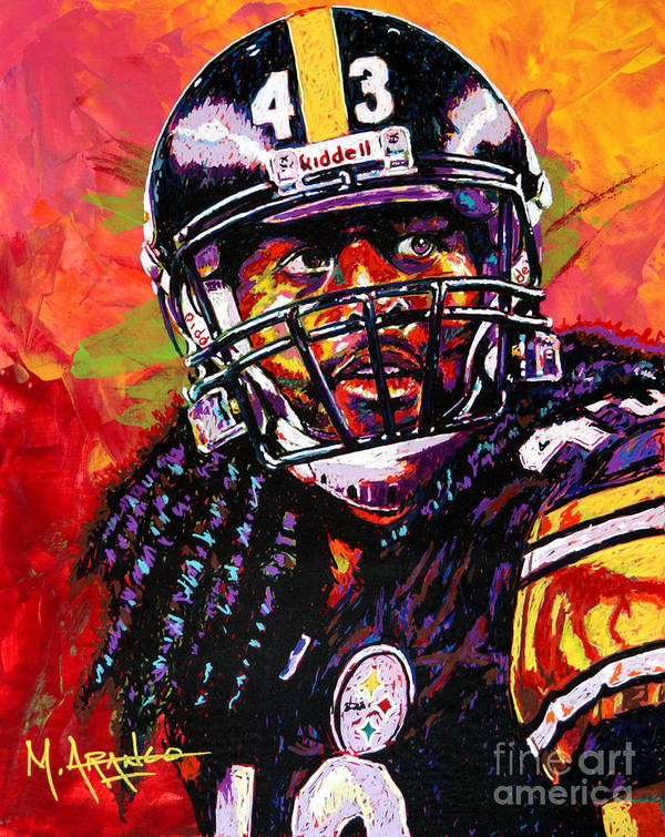Troy Art Print featuring the painting Troy Polamalu by Maria Arango