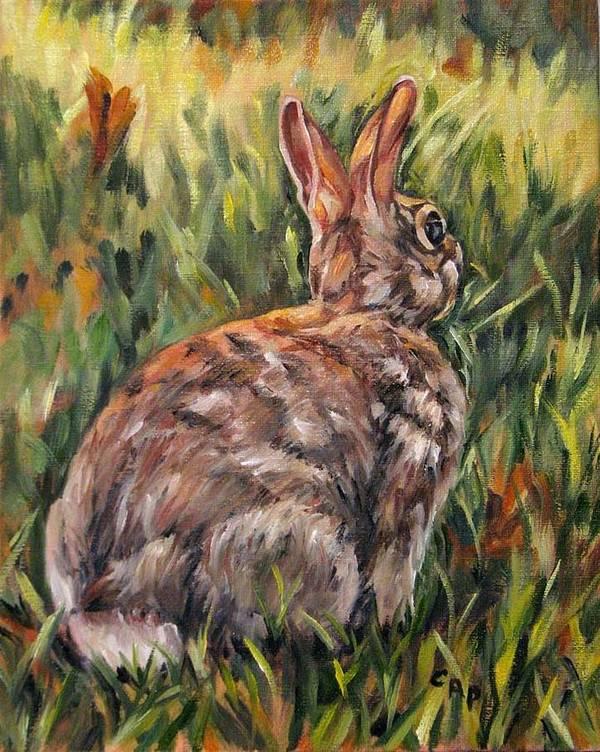 Rabbit Art Print featuring the painting All Ears by Cheryl Pass