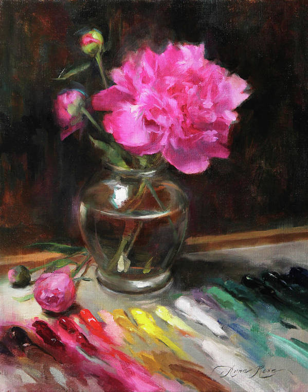Peony Art Print featuring the painting An Artist's Playground Revisited by Anna Rose Bain