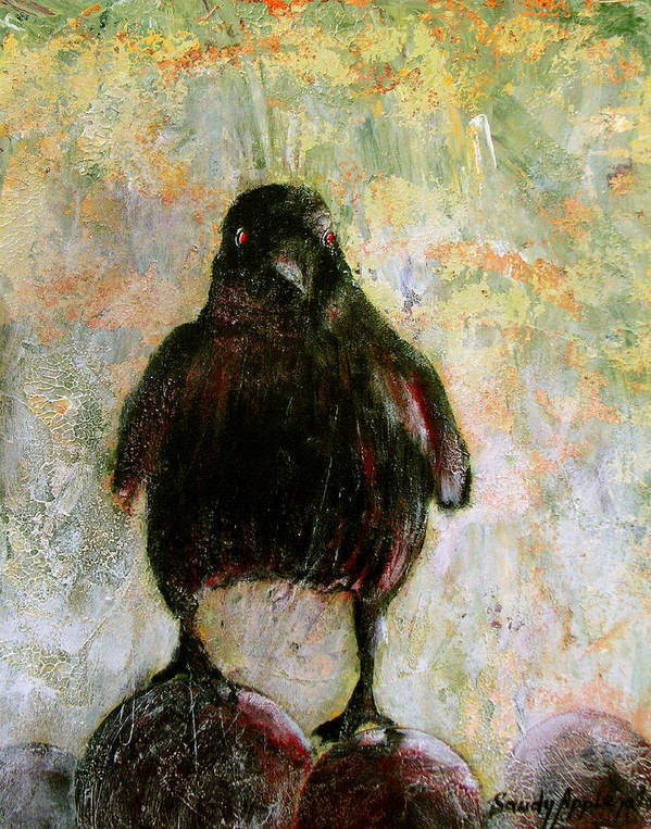 Raven Art Print featuring the painting And His Eyes by Sandy Applegate