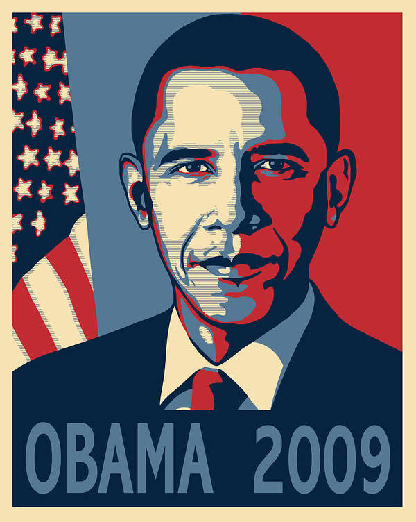 Portrait Poster Print featuring the digital art Barack Obama Presidential Poster by Sue Brehant