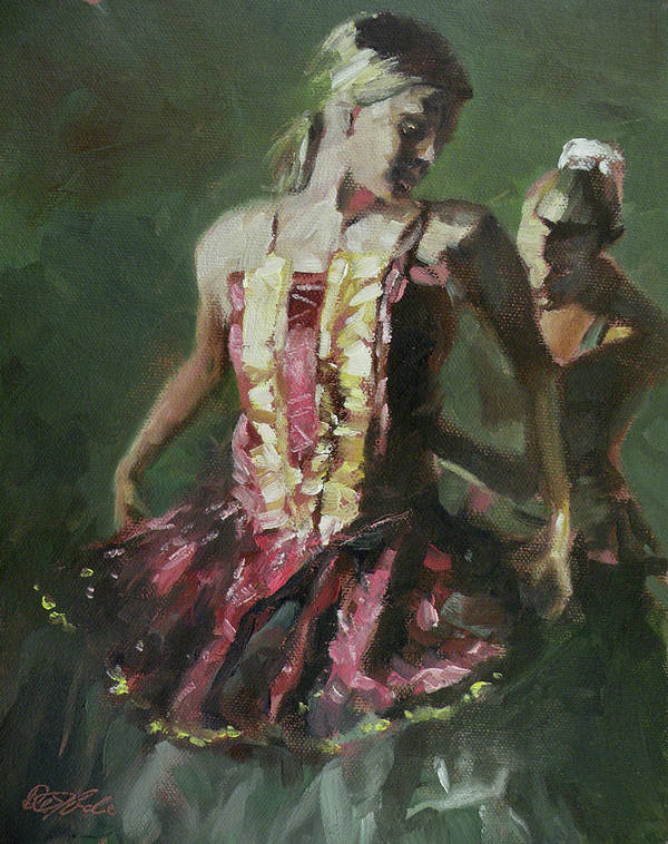 Dancers Print featuring the painting Behind The Scenes by Mia DeLode