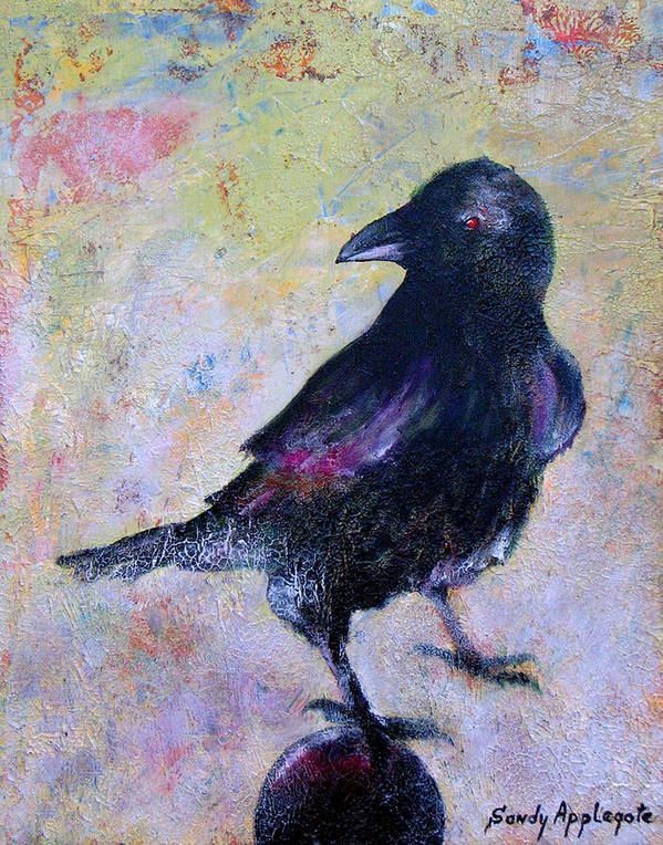 Raven Art Print featuring the painting Bird Above His Chamber Door by Sandy Applegate