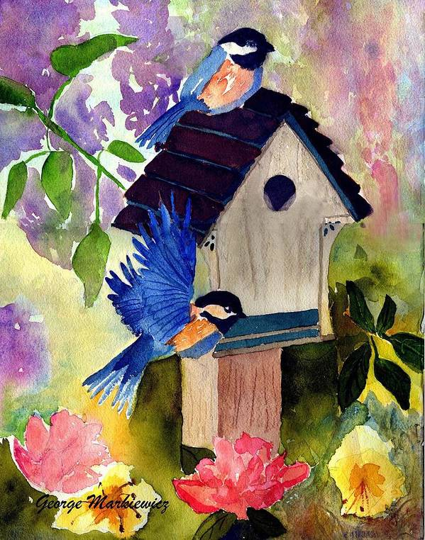 Bluebirds In Springtime Art Print featuring the print Bluebirds Nesting by George Markiewicz