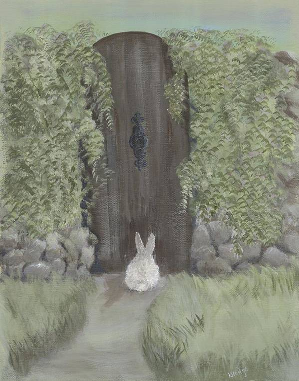Bunny Art Print featuring the painting Bunny At The Gate by Kimberly Hodge