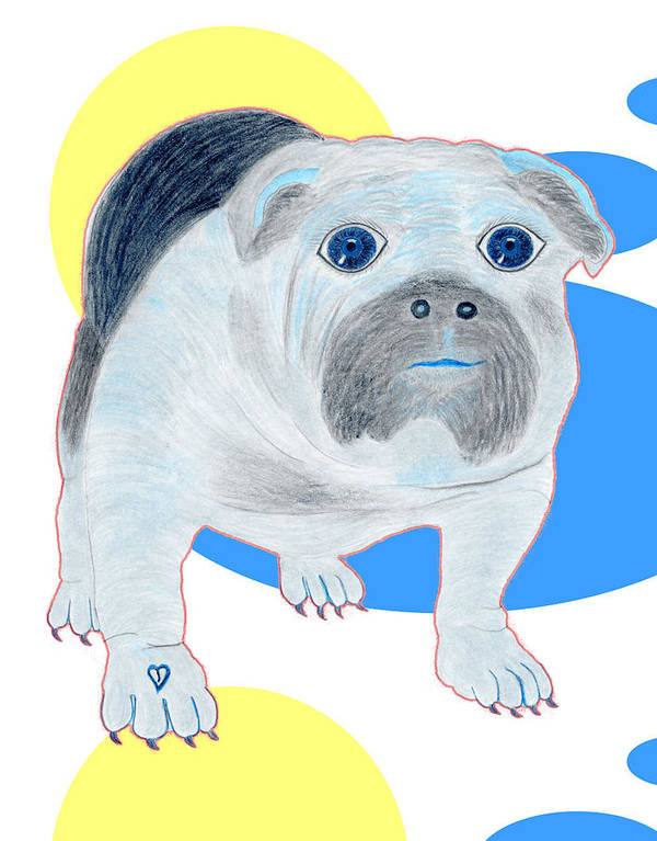 Dogs Art Print featuring the painting Charlie The Bulldog by Tess M J Iroldi