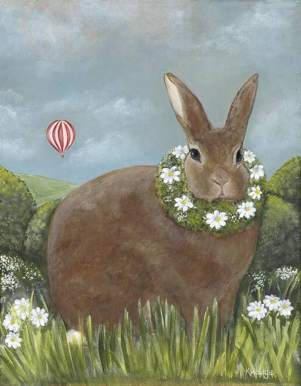 Bunny Art Print featuring the painting Daisy's Day Out by Kimberly Hodge