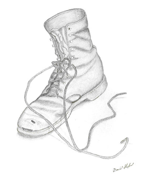 Dan Shuford Art Print featuring the drawing Dans Old Boot by Daniel Shuford