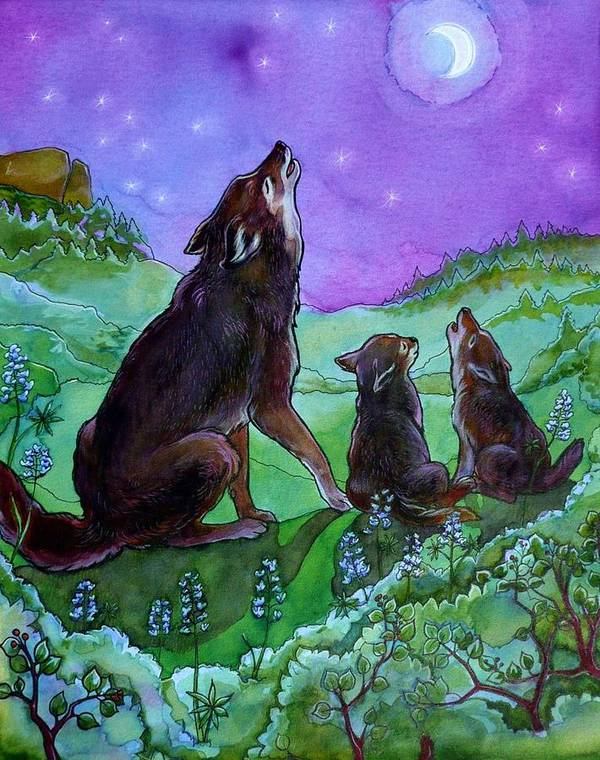 Coyote Art Print featuring the painting Make A Joyful Noise by Jill Iversen