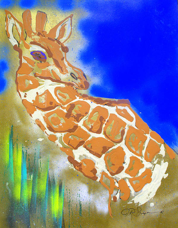 Giraffe Art Print featuring the painting Giraffe by J R Seymour
