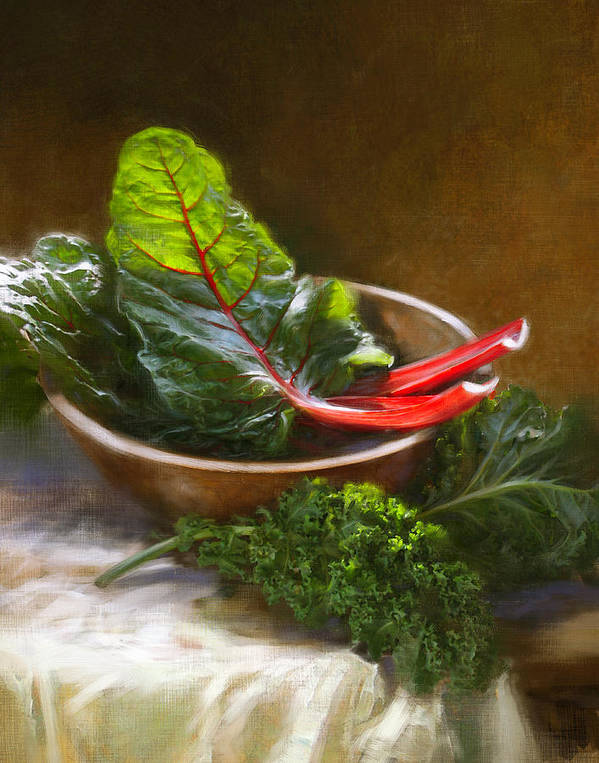Vegetables Art Print featuring the painting Hearty Greens by Robert Papp