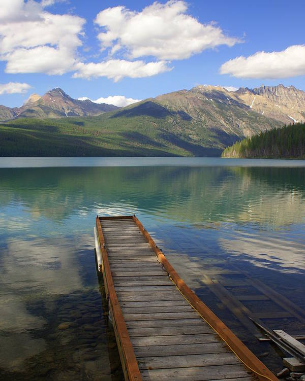 Glacier National Park Art Print featuring the photograph Kintla Lake Dock by Marty Koch