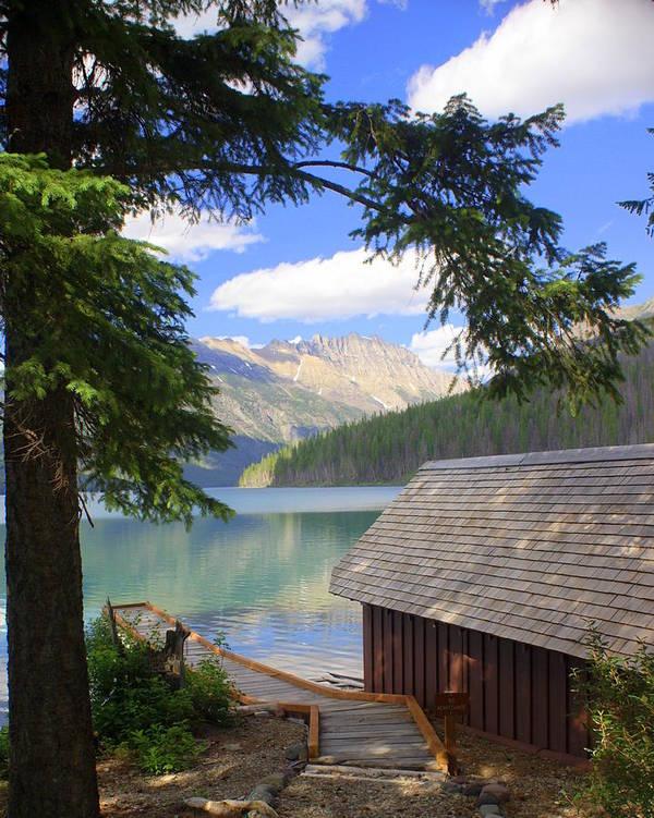 Glacier National Park Art Print featuring the photograph Kintla Lake Ranger Station Glacier National Park by Marty Koch