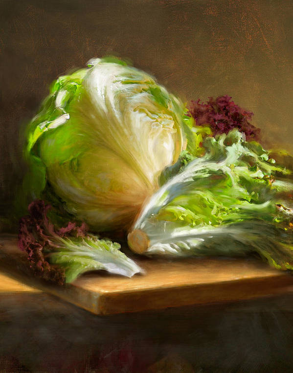 Lettuce Art Print featuring the painting Lettuce by Robert Papp
