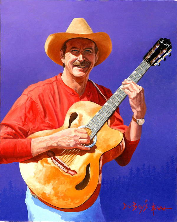 Musician Art Print featuring the painting Red River Troubador by Howard Dubois
