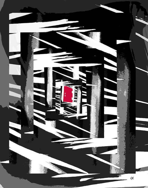 Abstract Digital Art Print featuring the digital art Secret Red Door by Gerlinde Keating - Galleria GK Keating Associates Inc