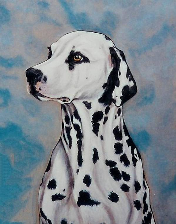 Dogs Art Print featuring the painting Spotty by Lilly King