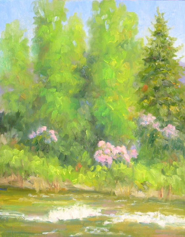 Landscape Art Print featuring the painting Spring On Gore Creek by Bunny Oliver