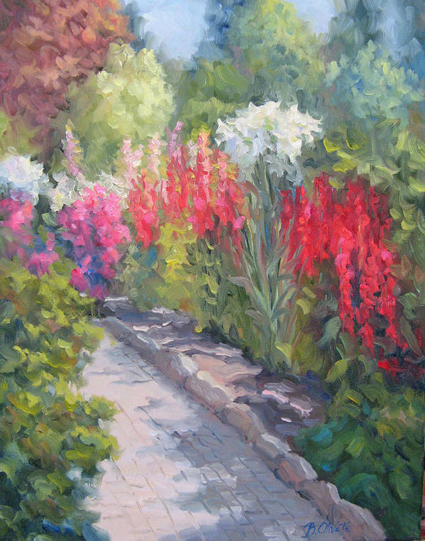 Garden Art Print featuring the painting Sunlit Garden by Bunny Oliver