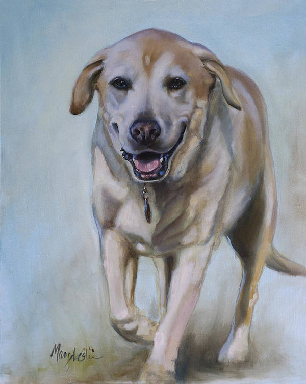 Yellow Lab Art Print featuring the painting Tate by Mary Leslie