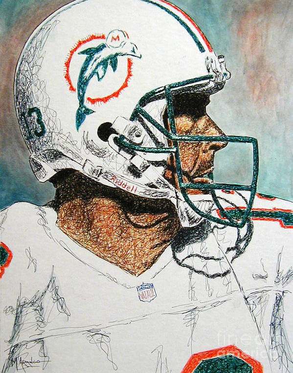 Dan Marino Art Print featuring the mixed media The Man by Maria Arango